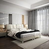 【下单赠价值398元乳胶枕1个】左右 皮床1.8m双人床 头层牛皮 现代卧室 真皮软床 DR029 227cm*183cm*100cm