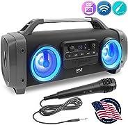 无线便携式蓝牙音箱扬声器 - 500W 可充电 Boom Box 音箱便携式音箱大音量立体声系统,带 AUX 输入,USB/SD,1/4 英寸,Fm 收音机,3英寸低音炮,DJ 灯 - Pyle PBMSPG144