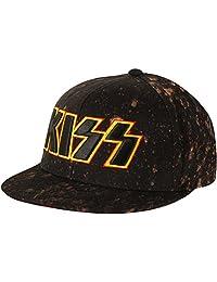 Kiss 3D 刺绣标志漂底黑色后扣帽 黑色 Standard