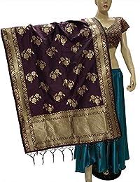 印度新娘婚礼巴基斯坦 Banarasi 女士编织棉丝面纱杜帕塔披肩厚巾 Chunni 披肩围巾
