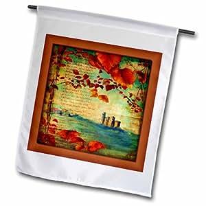 3dRose fl_99454_1 中世纪书花园旗下的城堡和叶子,30.48 x 45.72 厘米