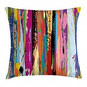抽象抱枕靠垫套 ambesonne 多色 expressionist 艺术品活力彩虹设计 tainted 图案装饰方形 Accent 枕套多色