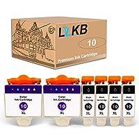 L2KB 6件装(4件黑色2色)改装替换件 柯达 10B 10C #10XL 兼容 EasyShare 5100 5300 5500 柯达 ESP 3 3250 5 5210 5250 6150 7 7250 9 9250