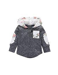 KONIGHT 儿童幼儿女婴秋季服装花卉口袋连帽夹克外套上衣服装