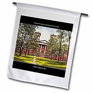 SANDY mertens 南加州–MAIN BUILDING , wofford 学院, spartanburg , SC ( 复古 )–旗帜 12 x 18 inch Garden Flag