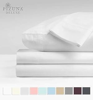 Pizuna 600 支 * 长绒棉缎编织床上用品时尚 10.16 厘米下摆适合 38.1 厘米 白色 King 4pc Sheet Set