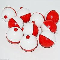 Z&S 50 件/1 英寸钓鱼浮标 硬质 ABS 按扣式圆形浮标 红色和白色 按钮圆形浮标 垂钓钓钓具