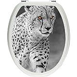 Pixxp/3D WCS 4954 32x40 Lauernder Proud Cheetah on meadow 如厕盖贴纸,WC,马桶盖Gläzendes 材质 黑色/白色,40 x 32 厘米