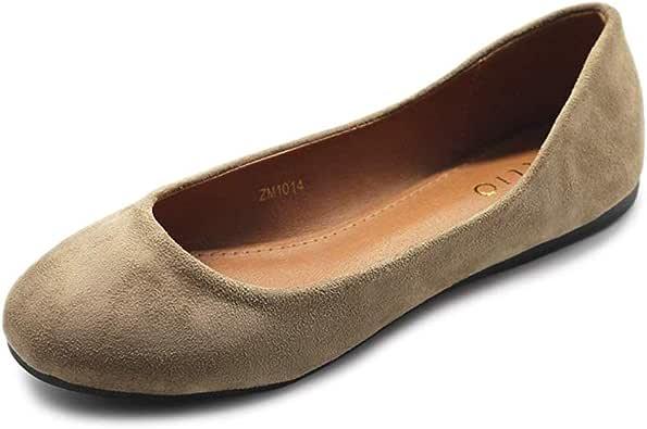 Ollio 女式鞋芭蕾舞浅仿麂皮低跟平底鞋 米色 6.5 M US