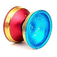 Yoyo Edge Yoyo by YoFactory 彩色半红色酸洗面和半蓝色酸洗金色边缘