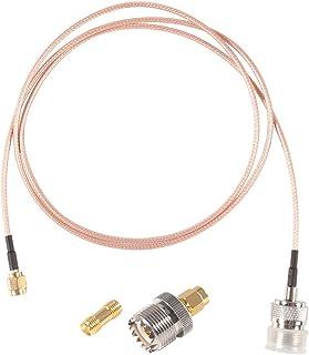 MELIFE RF 同轴同轴电缆,SMA 公头至 UHF 母头 SO-239 电缆,带 2 个 SMA 适配器 SMA UHF 母头 SO239 适配器套件适用于 RF 应用/CB收音机/手持无线电天线/对讲机等