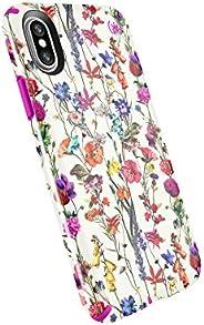 Speck Products 兼容手机壳苹果 iPhone X,Presidio Inked 手机壳109680-7286  Whiteflowers/Lipstick Pink