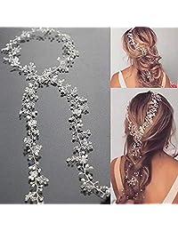 Unicra 婚礼新娘水晶长发葡萄*头饰婚礼头饰发饰,适用于新娘和伴娘 39.4 Inches (100 cm) 1.00