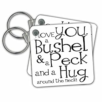 kc_193477 EvaDane - 语录 - I love you a bushel and a peck。 白色和黑色。 - 钥匙链 set of 2 不适用