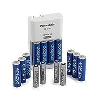 Panasonic 松下 K-KJ17MZ104A eneloop 电池套装;含 10 节 5 号电池,4 节 7 号电池,高级电池充电器(电池颜色随机发货)