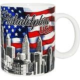 费城爱国风天际线纪念品咖啡杯带美国国旗