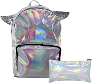 PU 皮革女孩独角兽背包,带翅膀,15 英寸,搭配铅笔盒,各种颜色 银色 16英寸