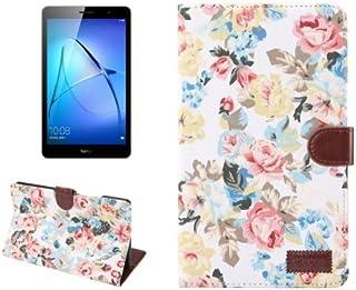 alsatek 花朵 M3 PU 皮革手机套适用于华为 MediaPad Lite 8.0
