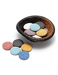 Top Plaza 熔岩石芳香*精油扩散器套装 - 椭圆形陶瓷激发器/加热器/夹子/碗,带 14 颗圆形熔岩石珠