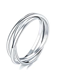 BORUO 925 纯银戒指三重联锁滚高抛光戒指