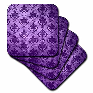 3dRose cst_30058_2 Vintage Wallpaper Pattern Purple-Soft Coasters, Set of 8