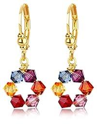 施华洛世奇水晶吊坠耳环 -24K 镀金-低*性 -由 Clecceli 制造 多种颜色