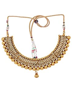 Adwitiya Gold Plated Traditional Necklace Set with Mang tika