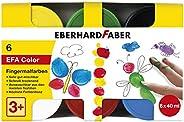 Eberhard Faber 578606 手指颜料,适用于儿童和幼儿,6罐装,每罐40毫升,折叠盒