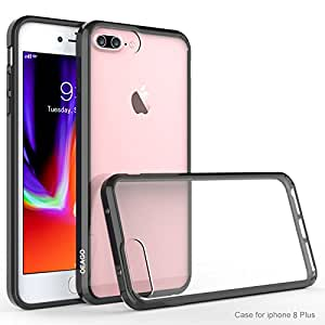 iPhone 8 Plus 手机壳,iPhone 7 Plus 缓冲器,OEAGO [超耐刮擦] [混合防撞系列] 防震抗冲击手机壳和透明硬质后面板 适用于苹果 iPhone 8 Plus/iPhone 7 Plus 黑色