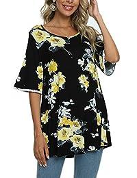 succlace 女式七分喇叭袖花卉夏季休闲宽松衬衫束腰上衣