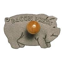 Norpro 帶有木柄的鑄鐵豬形培根肉壓制機,如圖所示 8.5英寸/約21.5厘米