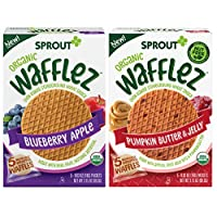 Sprout Organic Foods Toddler Snacks Wafflez Pumpkin Butter & Blueberry Apple 4 ct Variety Pack, 4Count