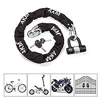 AKM 自行车锁,4 英尺*自行车链锁重型自行车锁自行车锁,带 16mm U 锁,摩托车自行车锁,黑色六面镀铬 1.2M(版本更新)