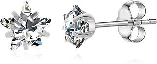 女式 316L *钢星星透明方晶锆石耳钉女式星星锆石耳钉不锈钢水晶耳环耳钉耳钉首饰女士几何耳环