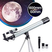 成人和儿童望远镜单目折射器望远镜天文初学者专业600毫米50毫米带三脚架和智能手机适配器