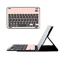 ikodoo爱酷多 无线键盘 适合苹果iPad Mini4 7.9英寸无线蓝牙键盘 保护套 键盘与保护套可分离 纤薄钻石纹皮套 全金属剪角按键机械键盘 蓝牙3.0无线距离10米 (mini4金属键盘套 分体式玫瑰金)