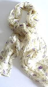丝绸沙龙 Oblong * 丝绸围巾 手工卷边 花霜 A671