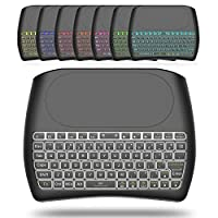 迷你无线键盘和触摸板鼠标组合带彩色背光, Q 92.4GHz 彩色背光手柄控制适用于 Android TV BOX , Windows PC , HTPC , IPTV , Raspberry Pi ,360, PS3, PS4 D8 black
