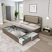 安贝格Anbege 科隆高箱双人床 软包1.5米主卧婚床高容量储物床板式床高箱单层床K166 灰橡色150*200(亚马逊自营商品,由供应商配送)