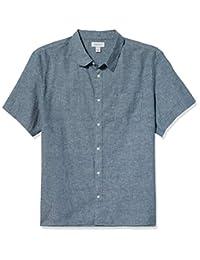 Calvin Klein 男式短袖轻质棉麻系扣衬衫