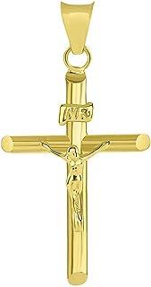 14k 黄金经典 INRI 基督教十字架十字架吊坠