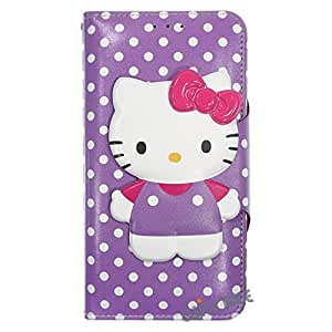Galaxy Note4 手机壳 Hello Kitty 可爱日记钱包 翻转合成皮革/防震/带子 [三星 Galaxy Note4] 手机壳4066912 Button Body Purple (Galaxy Note4)