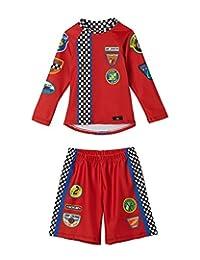 男童赛车泳裤和泳衣套装 - UPF 50 - 不褪色 - 美国制造