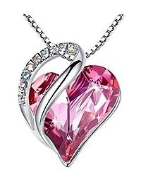 """[由纽约小姐介绍] Leafael""""Infinity Love"""" 采用施华洛世奇水晶心形吊坠项链,银色调,43.18cm+5.08 cm,镍/铅/无*,豪华礼盒 红宝石水晶/银色项链"""