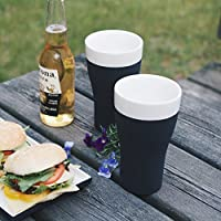 Magisso 炫酷无需冷冻可户外长时间保持低温可加标识啤酒杯平底杯玻璃杯(一套2个)568ml(亚马逊进口直采,芬兰品牌)