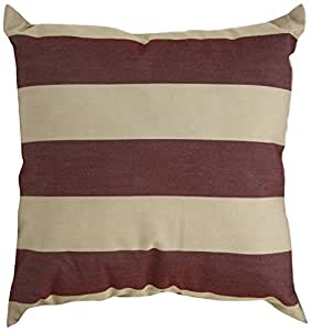 Mansion Striped Outdoor Pillow Burgundy and Tan 20 x 20 英寸