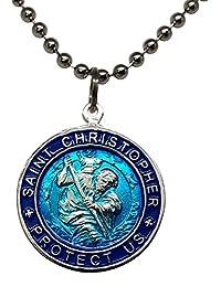圣克里斯托弗 冲浪项链,大号吊坠,水蓝色,带*蓝边缘,58.42 厘米圆珠链