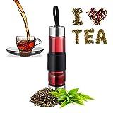 Relaxdays 茶瓶,带筛子,水,茶,冰沙,便携式饮水瓶,玻璃,不锈钢,450毫升,银色/黑色