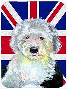 Caroline's Treasures LH9497LCB Old English Sheepdog with English Union Jack British Flag Glass Cutting Board, Large, Multicolor