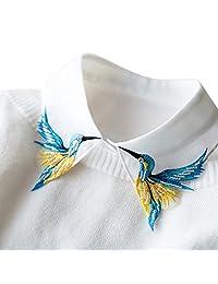 Shinywear 串珠刺绣 False 衬衫领口 休闲可拆卸翻领 复古英式 Dicky 白色,均码